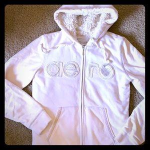 Tops - Aero bling cream faux fur sherpa hoodie